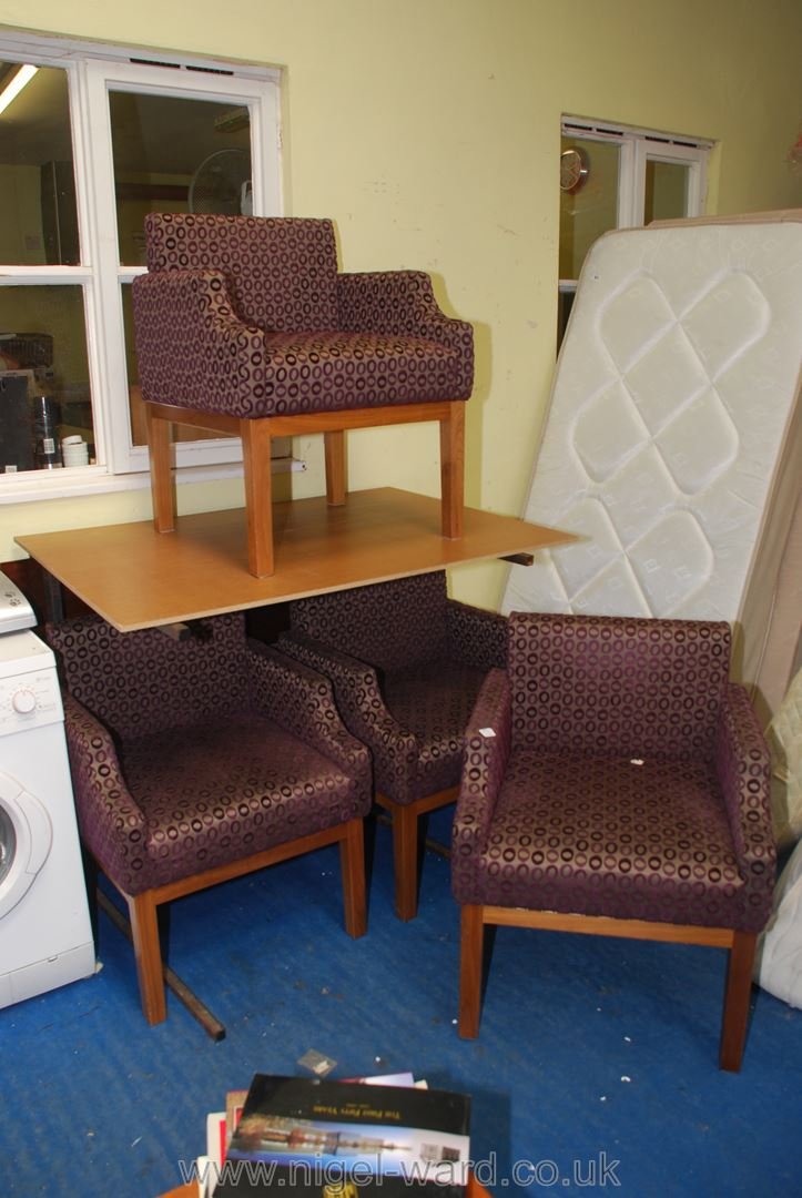 Set of four low back armchairs