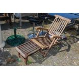 Teak Steamer Chair with foot rest, need attention.