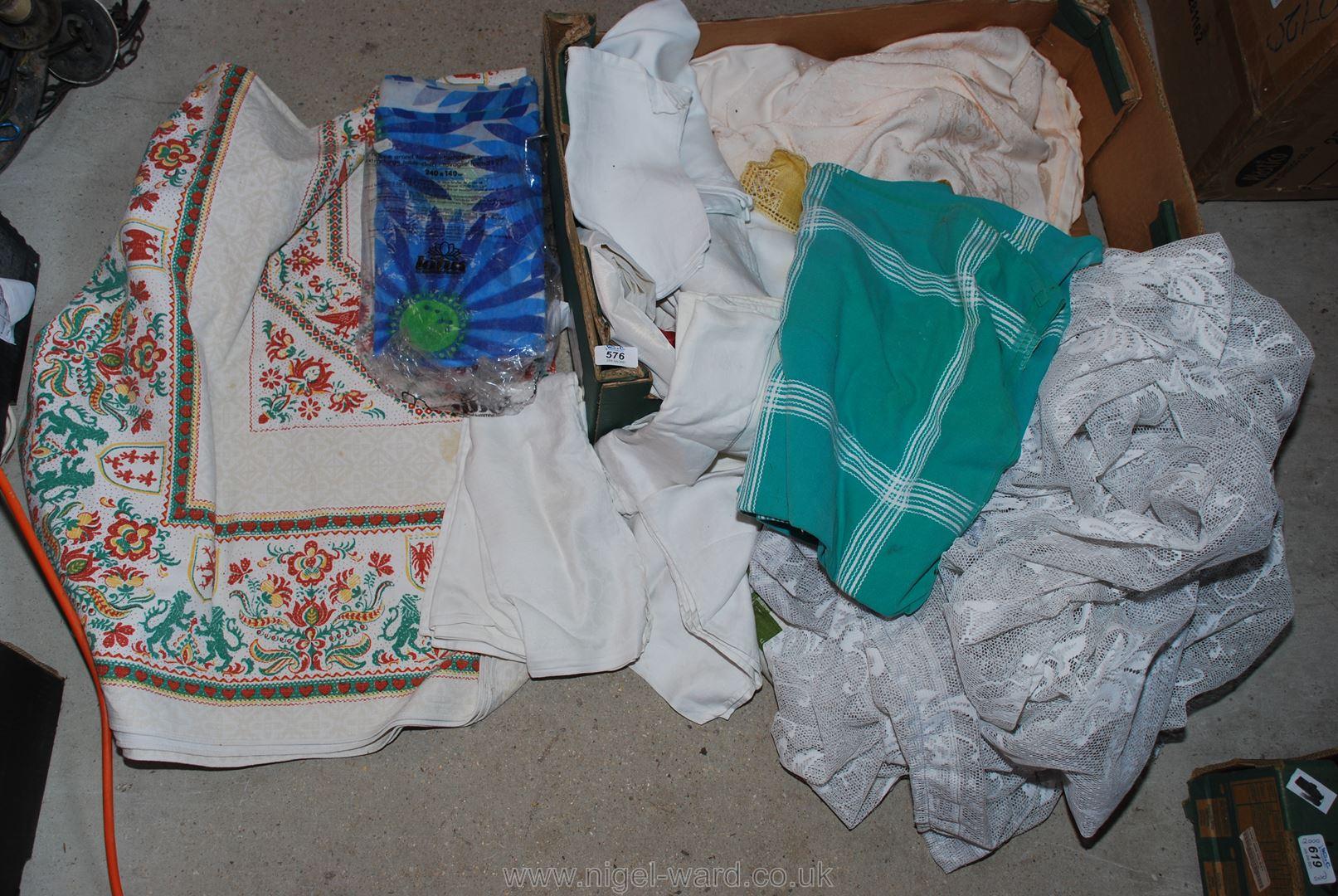 Various net curtains, tablecloths,