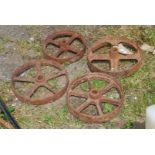 Four cast iron wheels 3'' x 11'' and 9'' diameter.