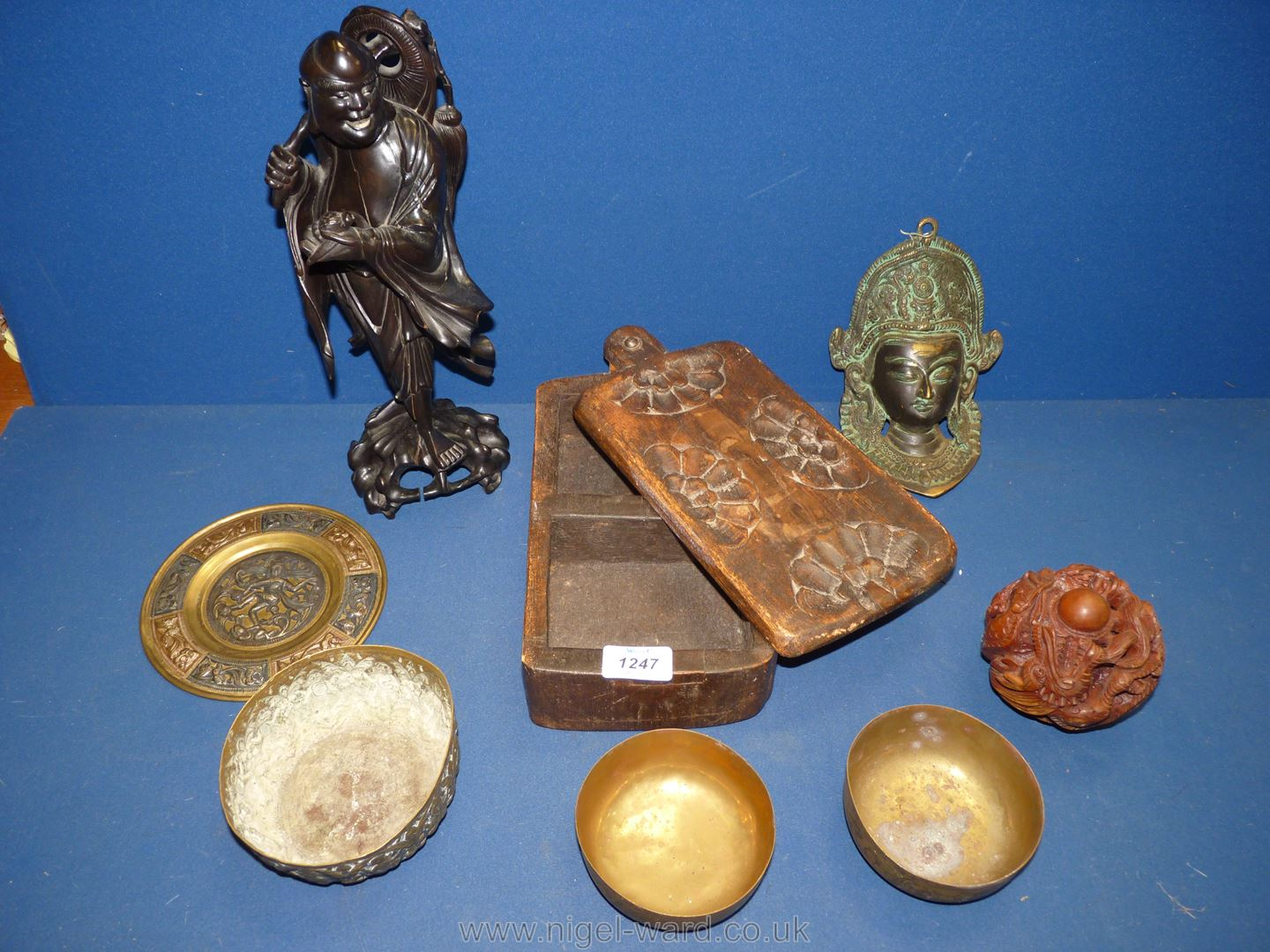 A quantity of miscellanea including wooden figure of an oriental man,
