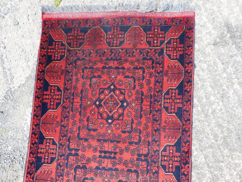A long Afghan Kahn hall runner, 100% wool, 487 cm x 77 cm. - Image 3 of 7