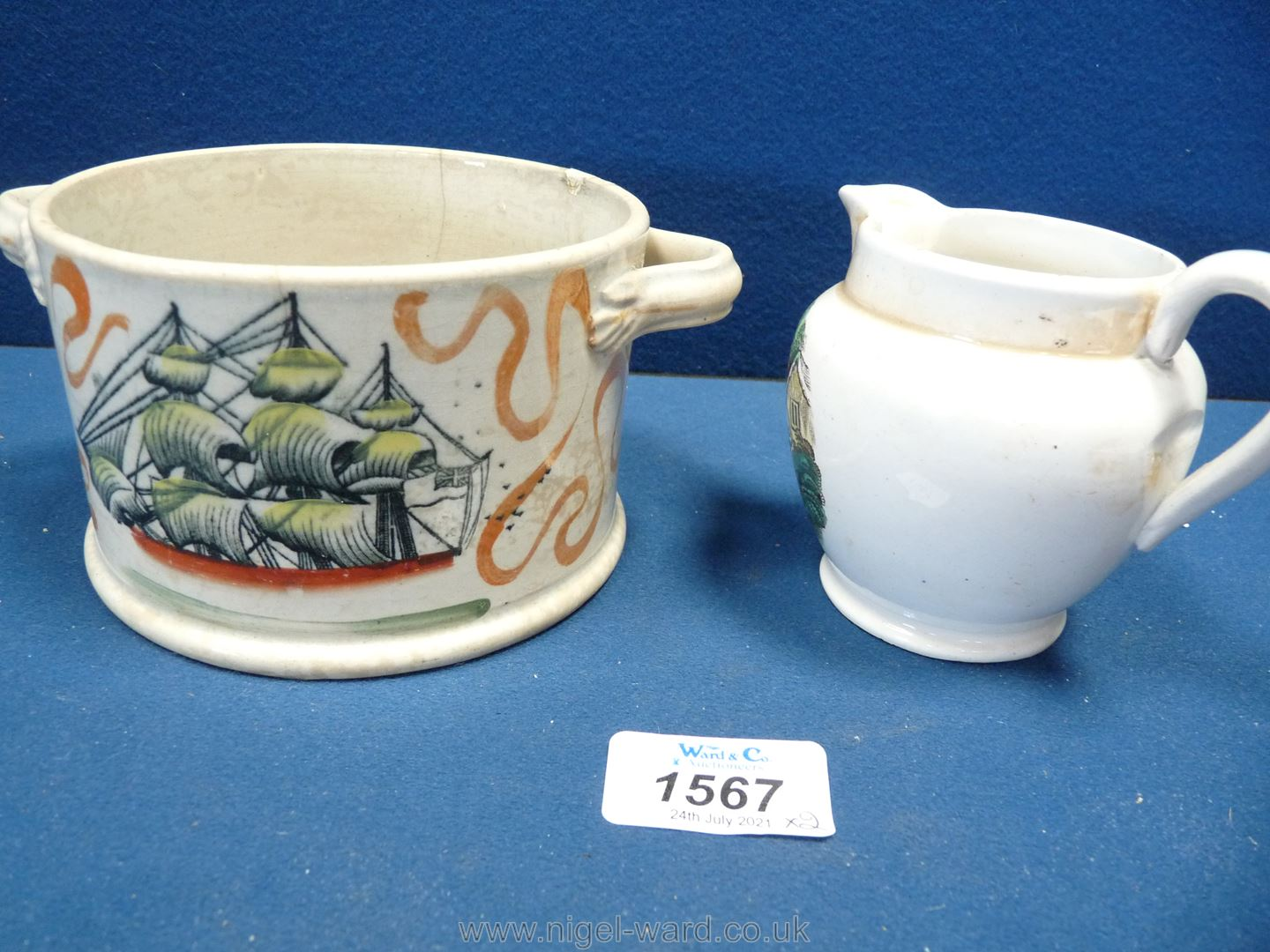 A small Sunderland lustre jug with 'The Sailor's Return' and a tobacco jar with ship and mariner's - Image 2 of 3