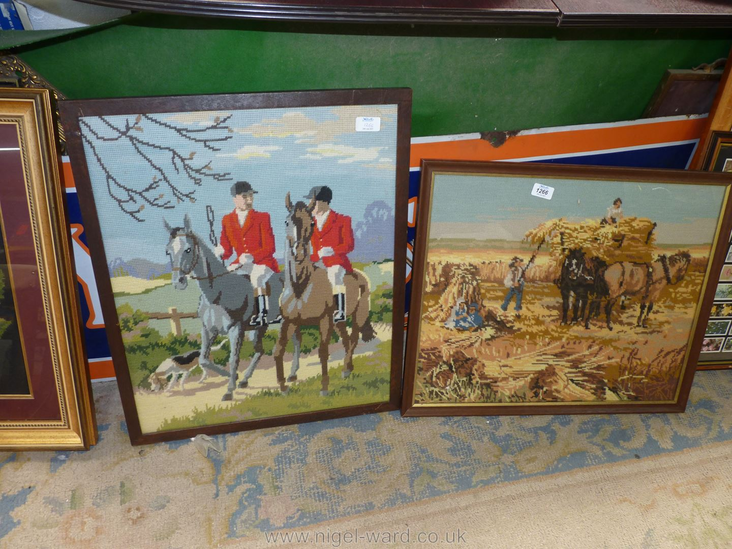 Two framed Tapestries,