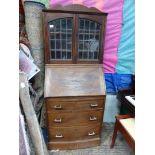 A 1930/40's Mahogany bow fronted Bureau Bookcase,