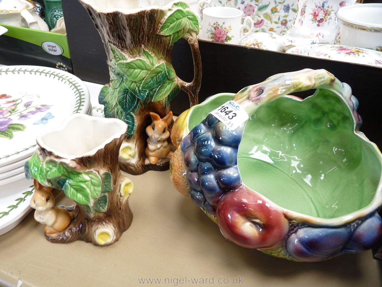 A Sylvac basket fruit bowl together with Hornsea rabbit vases. - Image 2 of 2