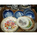 A quantity of display plates including Royal Doulton, Spode, Copenhagen Christmas plates etc.