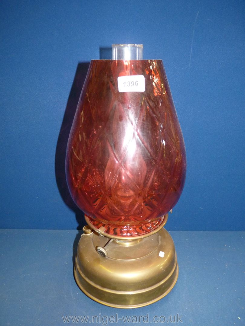 A large church oil heater/lamp on brass base with large glass cranberry shade, diamond pattern, - Image 3 of 4