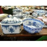 A rectangular lidded dish with pretty berry handled lid,
