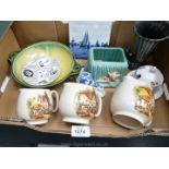 A box of mixed china including green Sylvac pot,