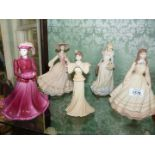 Four Coalport china figures; 'Beatrice', 'Jean', 'Amy' and 'Jo' all in a matt finish,