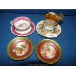 Two decorative cabinet cups and saucers in Vienna style, both early 20th Century.