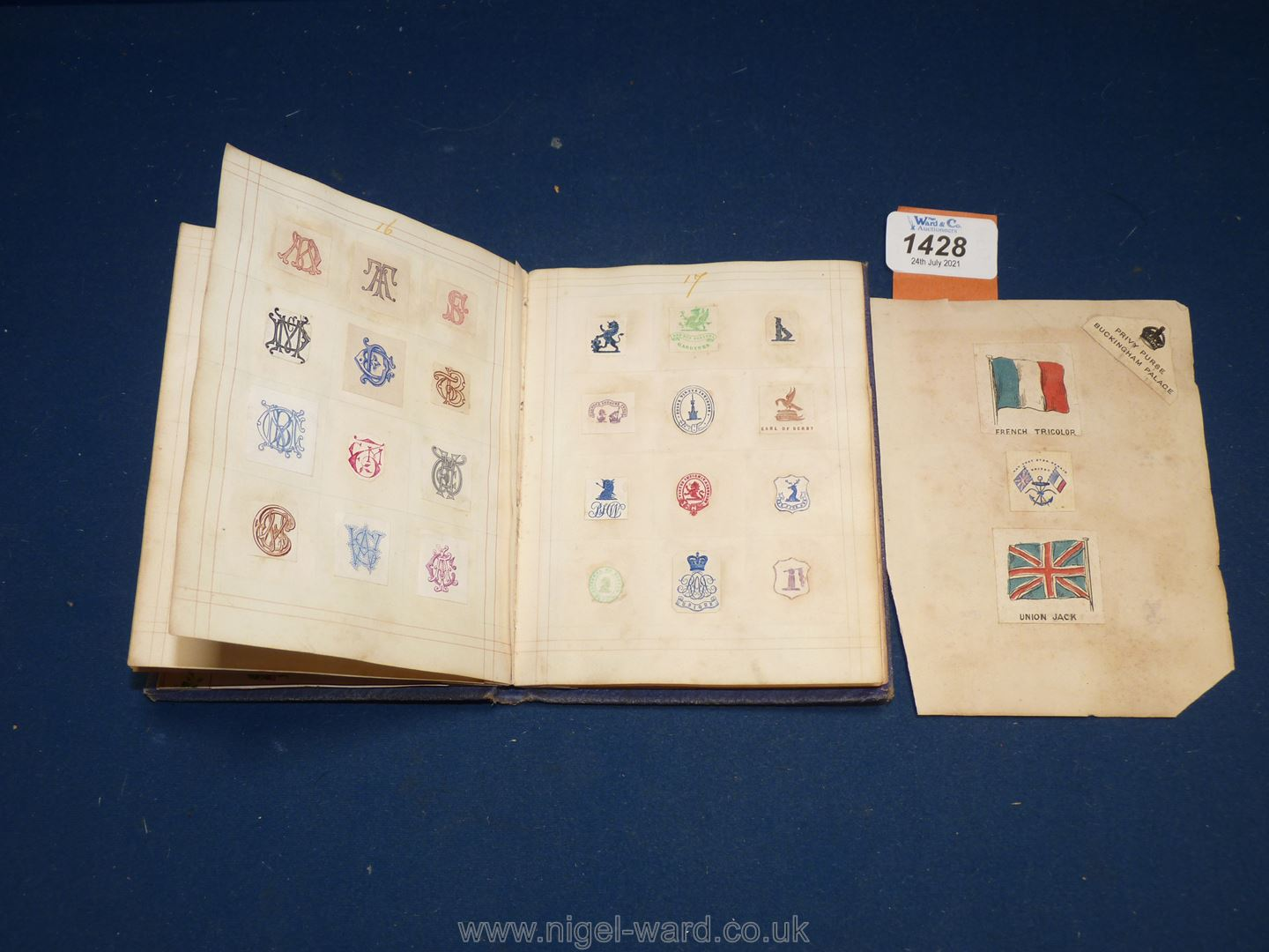An interesting album of Coats of Arms, ciphers etc including Queen Victoria's family, nobility, - Image 6 of 7