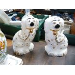 """A pair of small mantle spaniels by Beswick, 9"""" tall."""