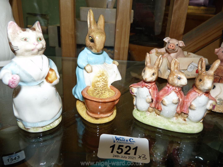Three Beswick Beatrix Potter figures : Cecily Parsley, Flopsy,