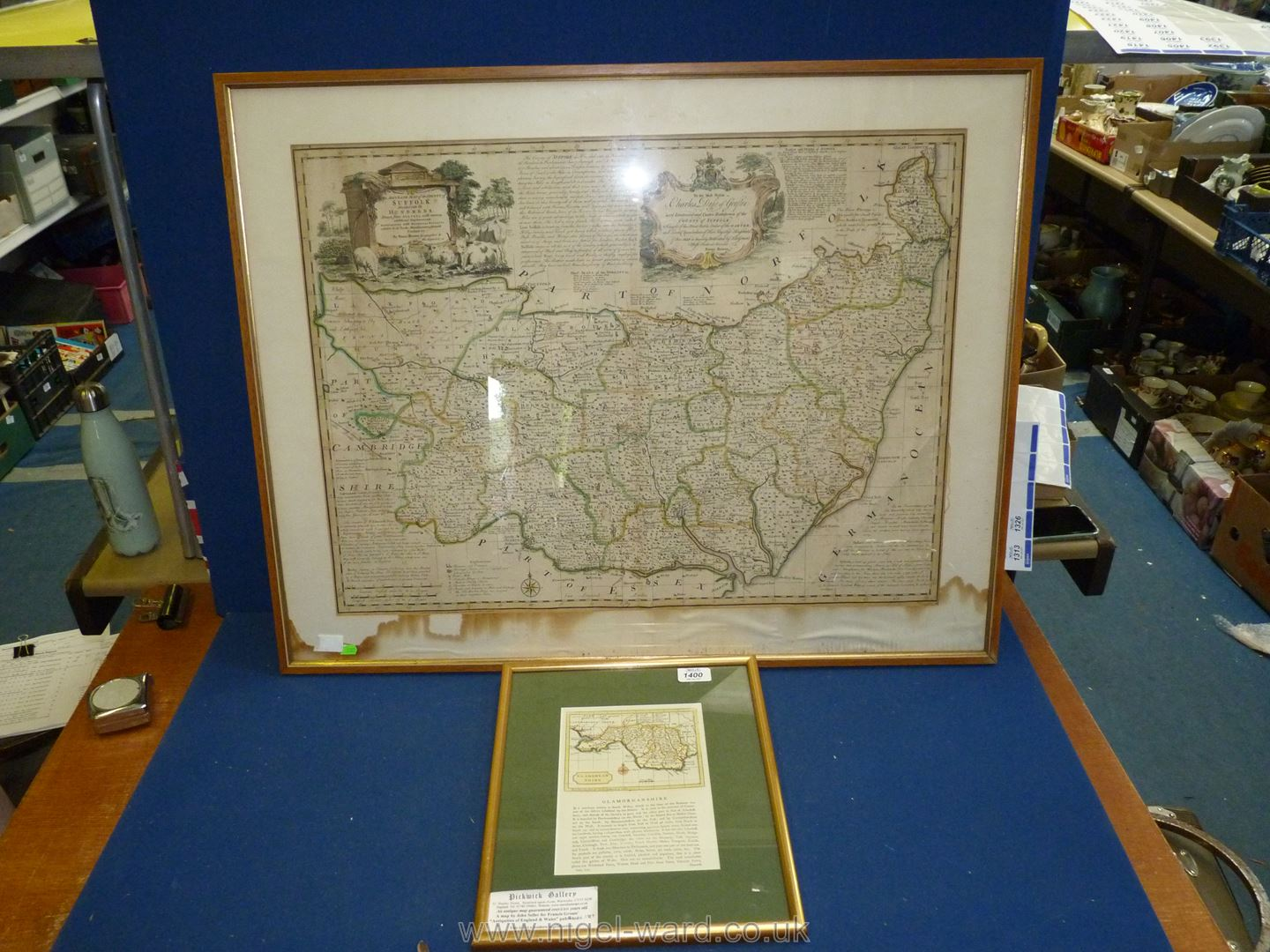 """A large map of Suffolk (water damage), 33 1/2"""" x 26 1/2"""" and small map of Glamorganshire."""