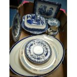 A quantity of blue and white china including Staffordshire Willow lidded tureen,