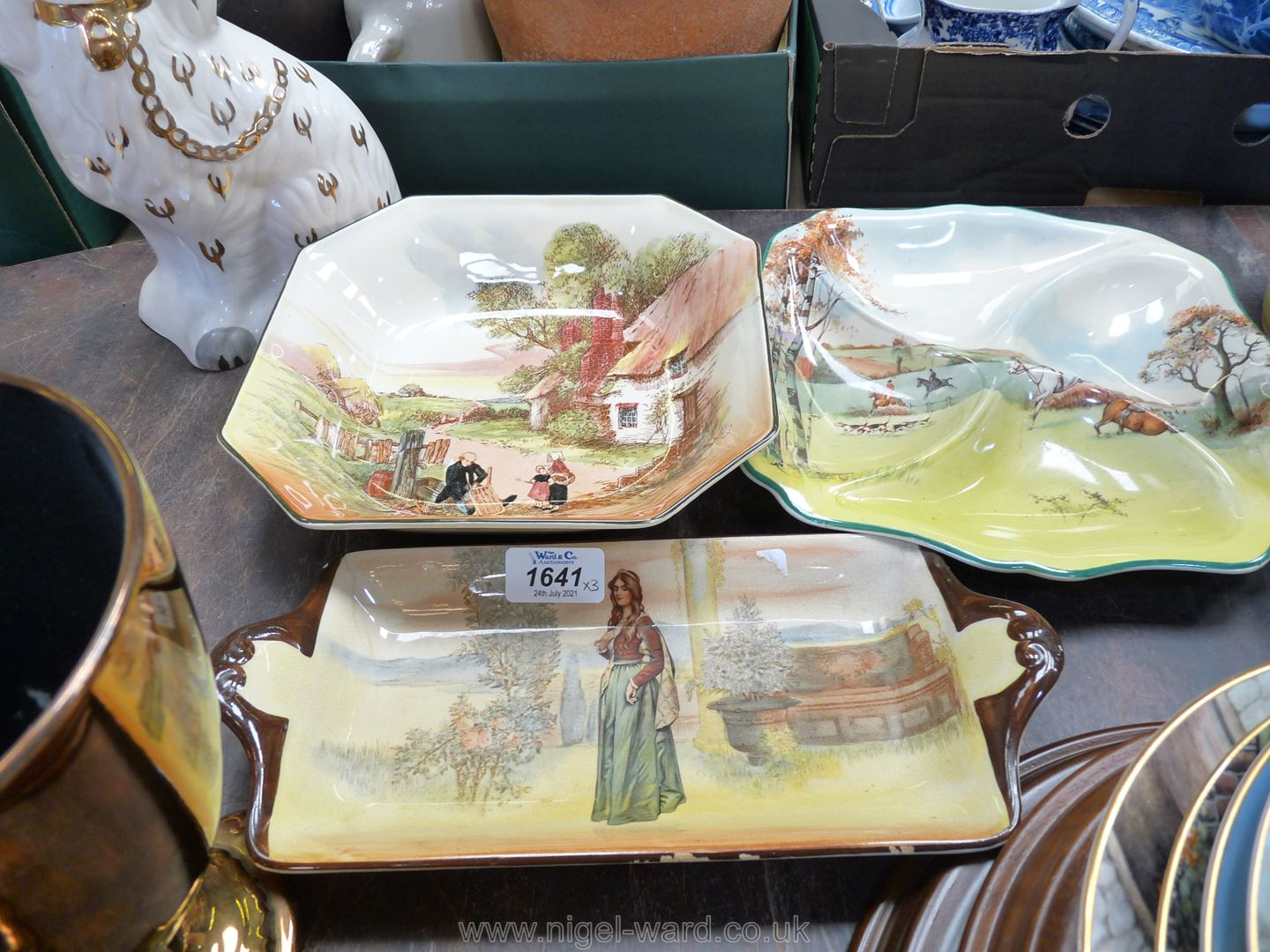 Three pieces of Royal Doulton including a fox hunting four piece hors d'oeuvre dish,