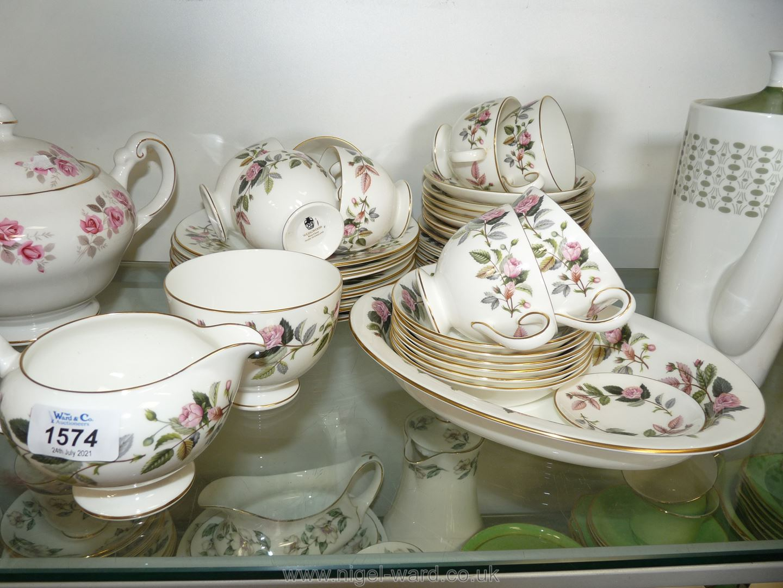A quantity of Wedgwood 'Hathaway Rose' china part tea set, dessert plates, small fruit bowls,
