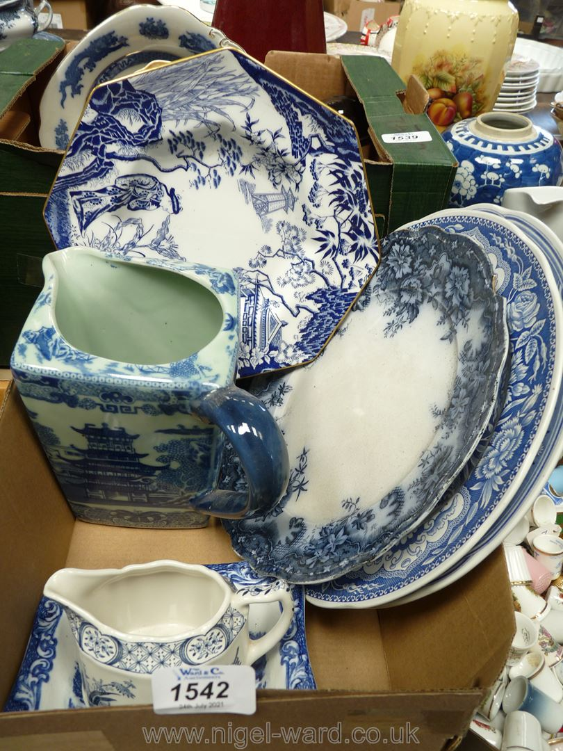 A box of miscellaneous china including four Blue and White china plates Spode, Empress,
