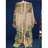 A silk Kimono with oriental landscapes.