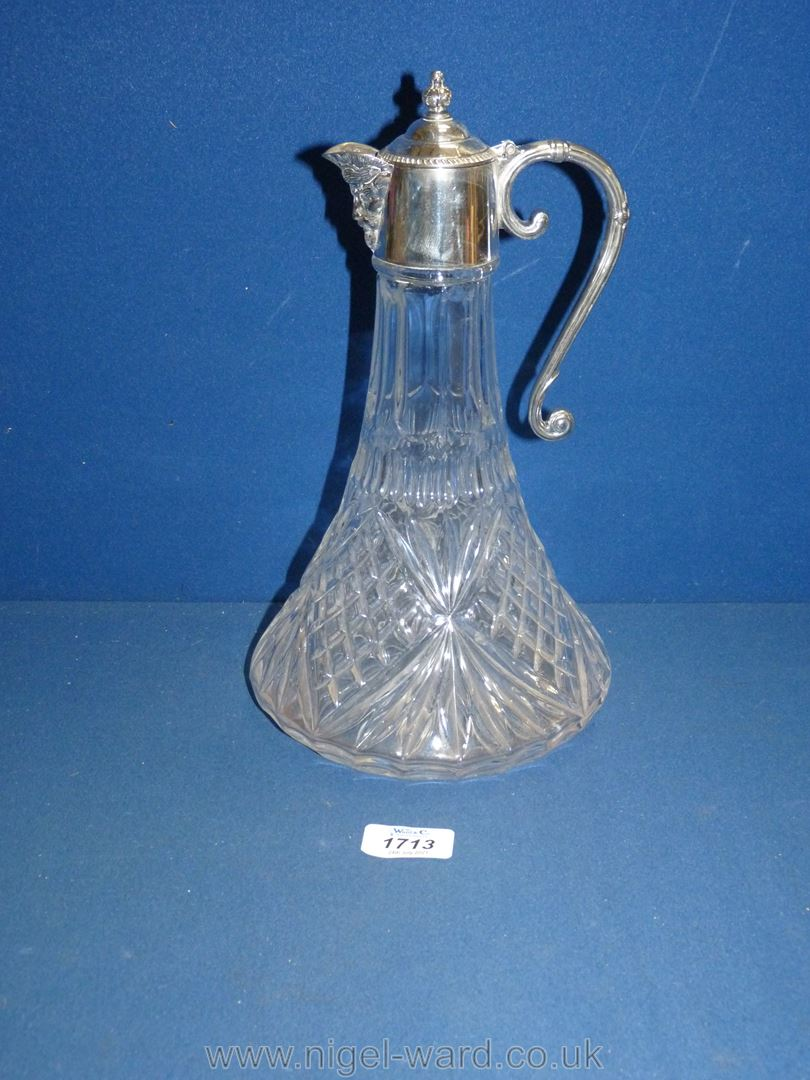 A Claret Jug with plated collar and lid and mask head spout. - Image 2 of 3