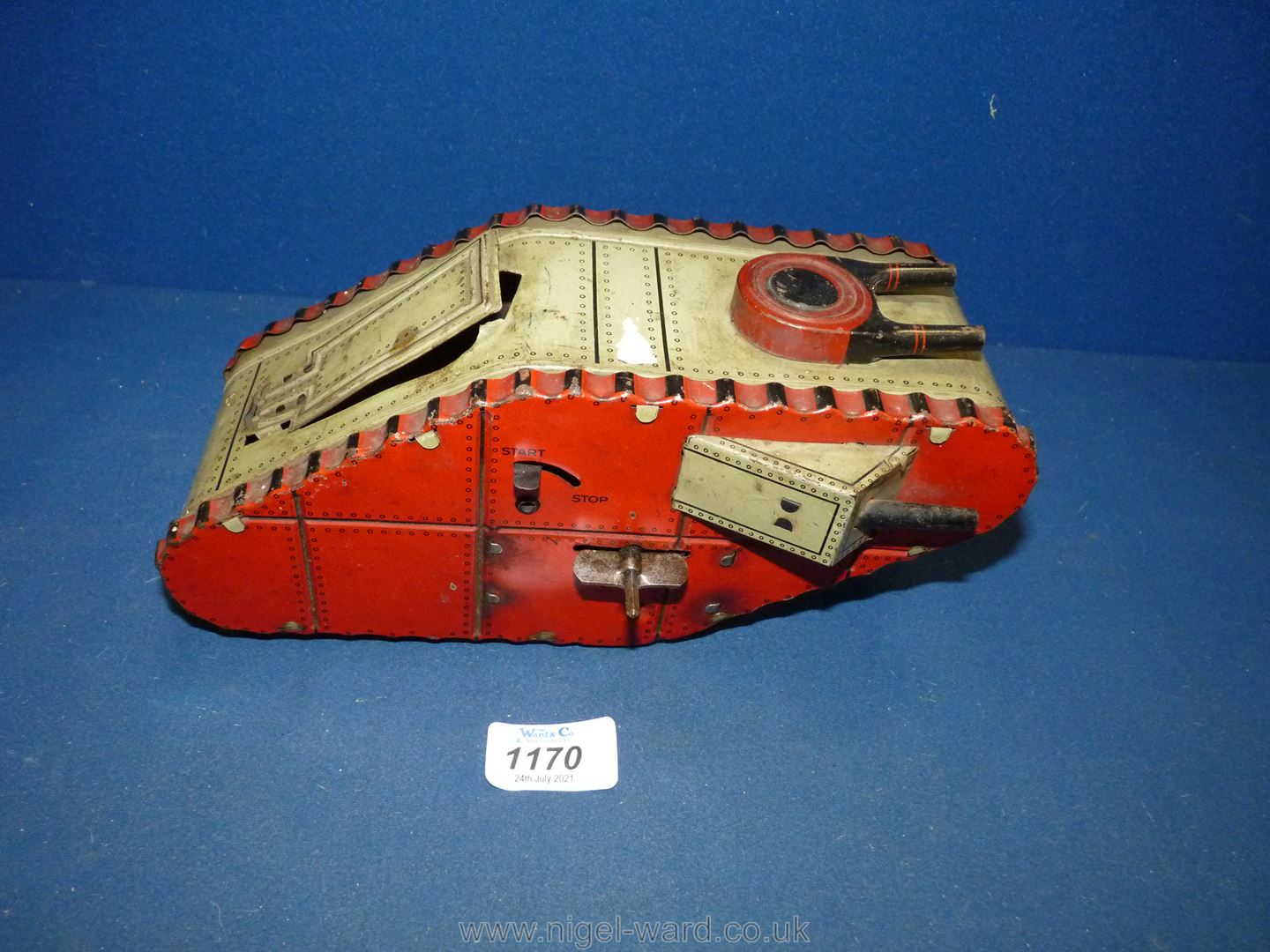 A German made tin plate clockwork toy of a Mark IV-type tank with spring loaded soldier, circa 1925, - Image 3 of 4
