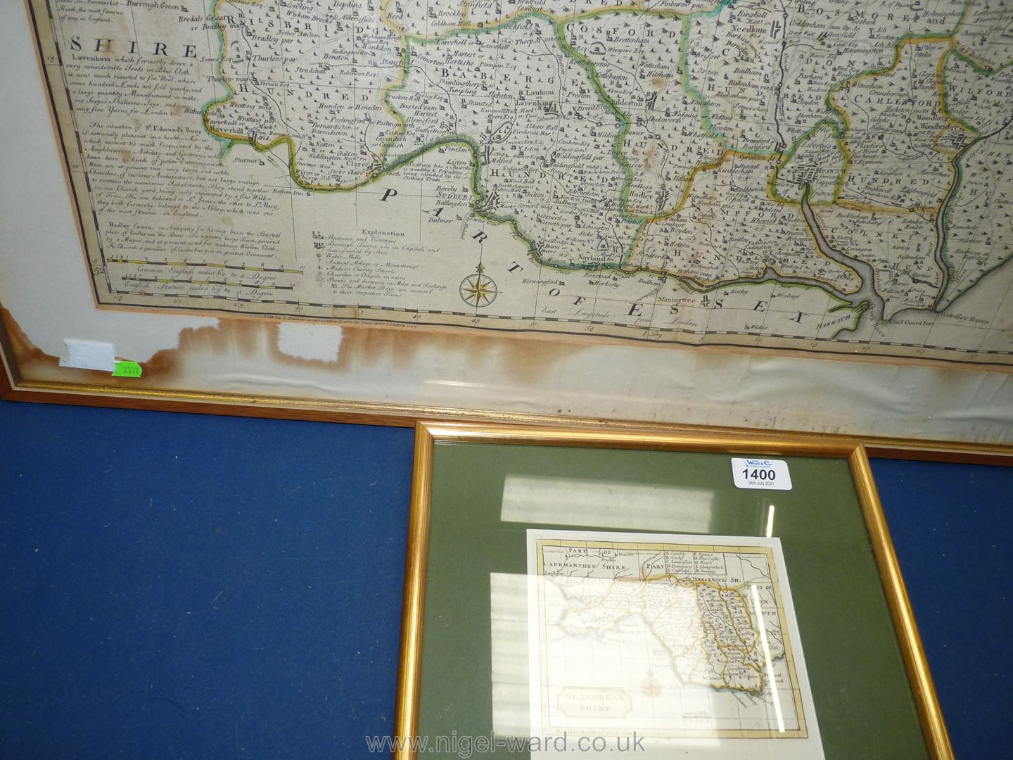 """A large map of Suffolk (water damage), 33 1/2"""" x 26 1/2"""" and small map of Glamorganshire. - Image 3 of 3"""