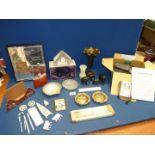 A quantity of miscellanea including brass vase, Fuji film camera and case, boxed glass clock,