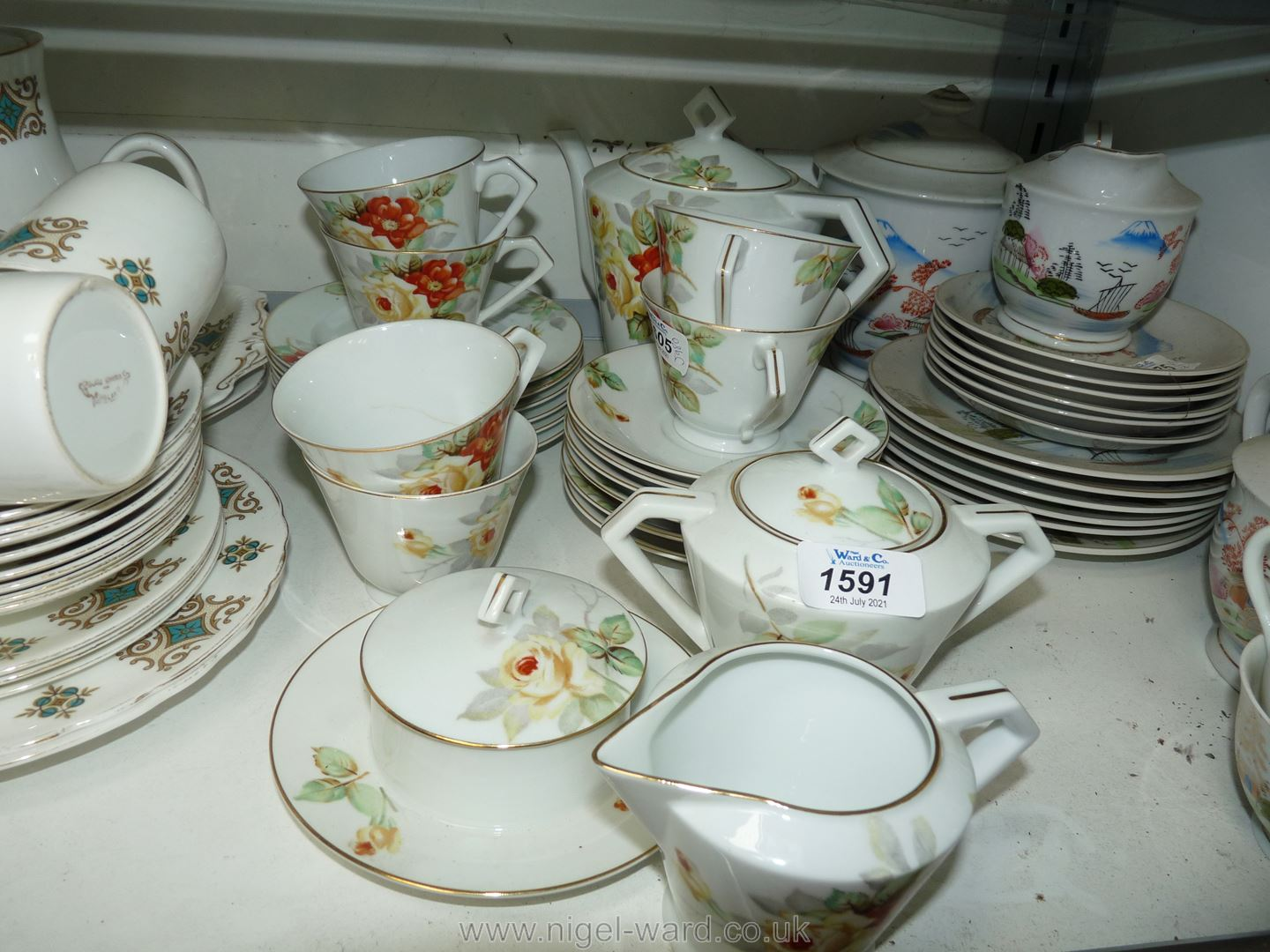 A Noritake tea service with orange and yellow flower pattern including six cups and saucers, - Image 2 of 2
