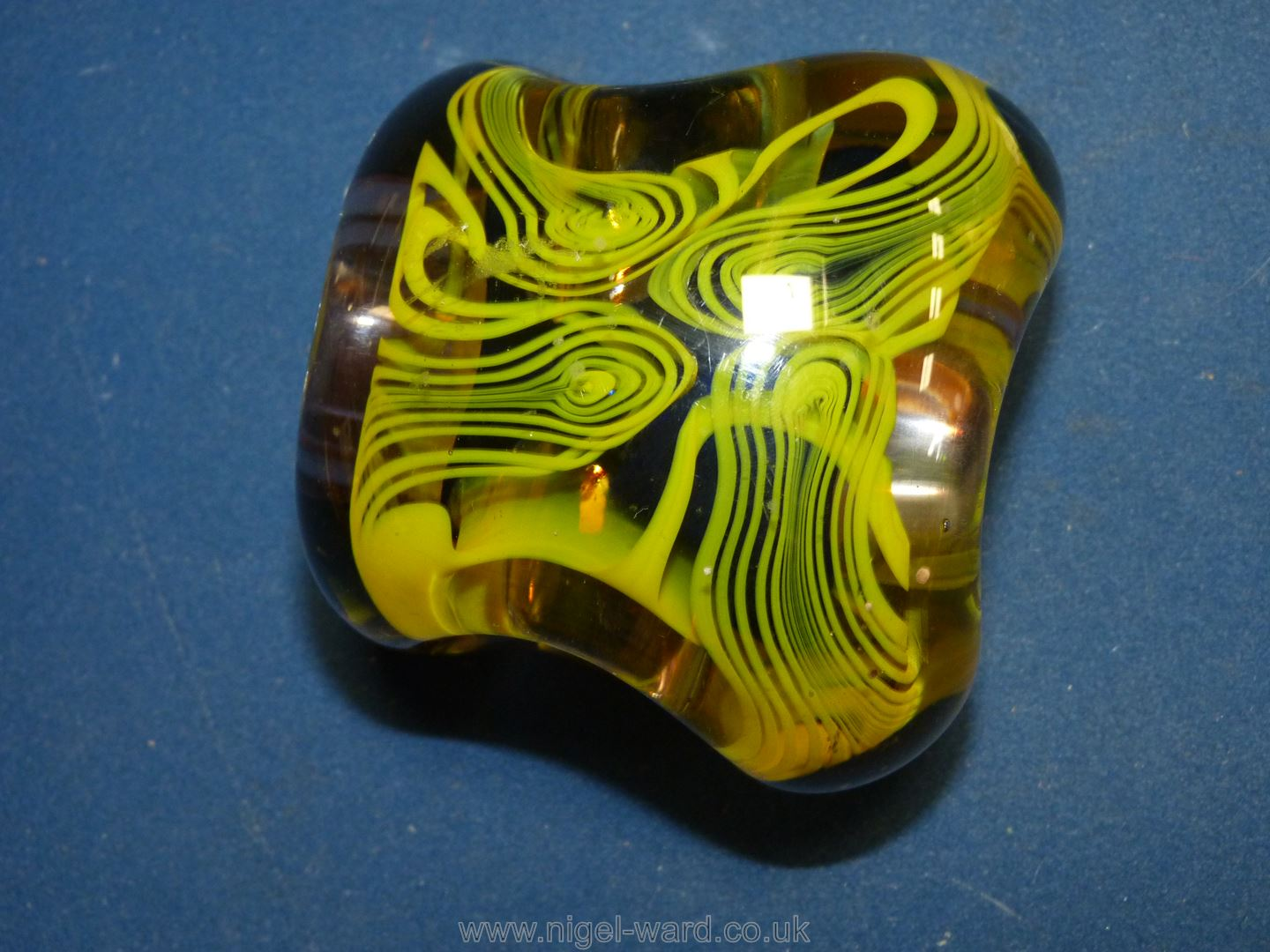 A Karlin Rushbrooke paperweight in yellow and black, - Image 3 of 6