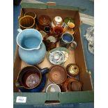 A good quantity of china including Denby blue glaze jug, crack to base,