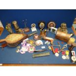 """A quantity of miscellanea including a """"The Crown and Sword Razor"""", bellows, small miners lamp,"""