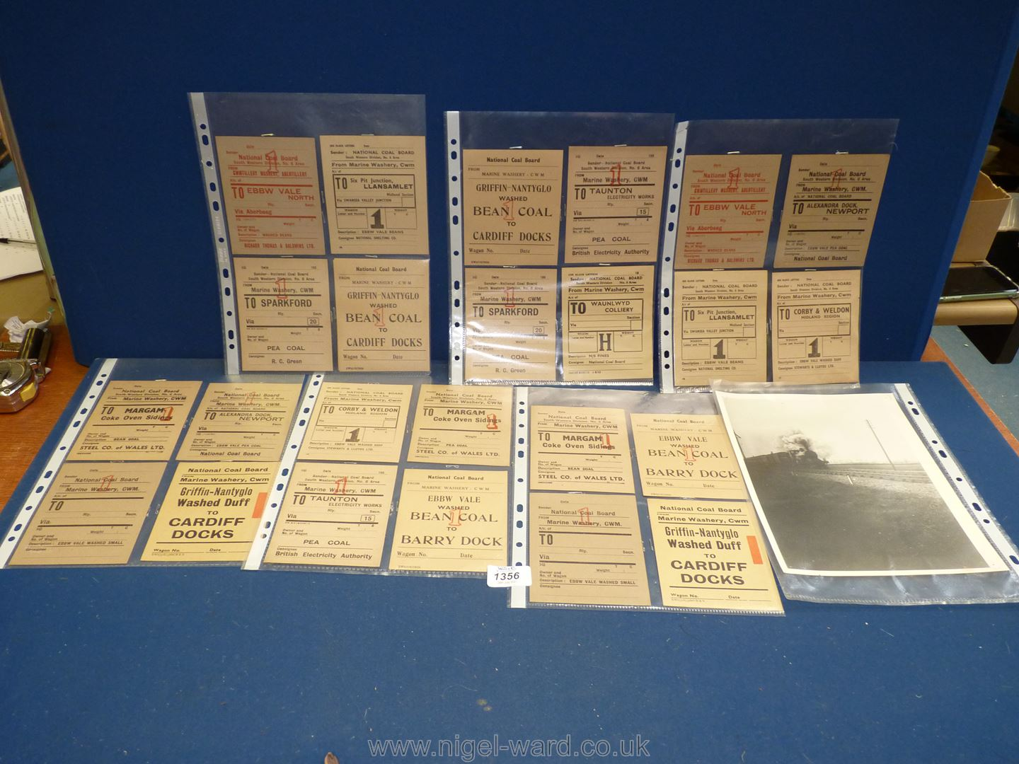 24 early 1950's Railway Wagon Welsh Coalfields Steam era tickets and a black and white steam train