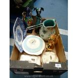 A quantity of china including blue and white octagonal shape Wedgwood plate,