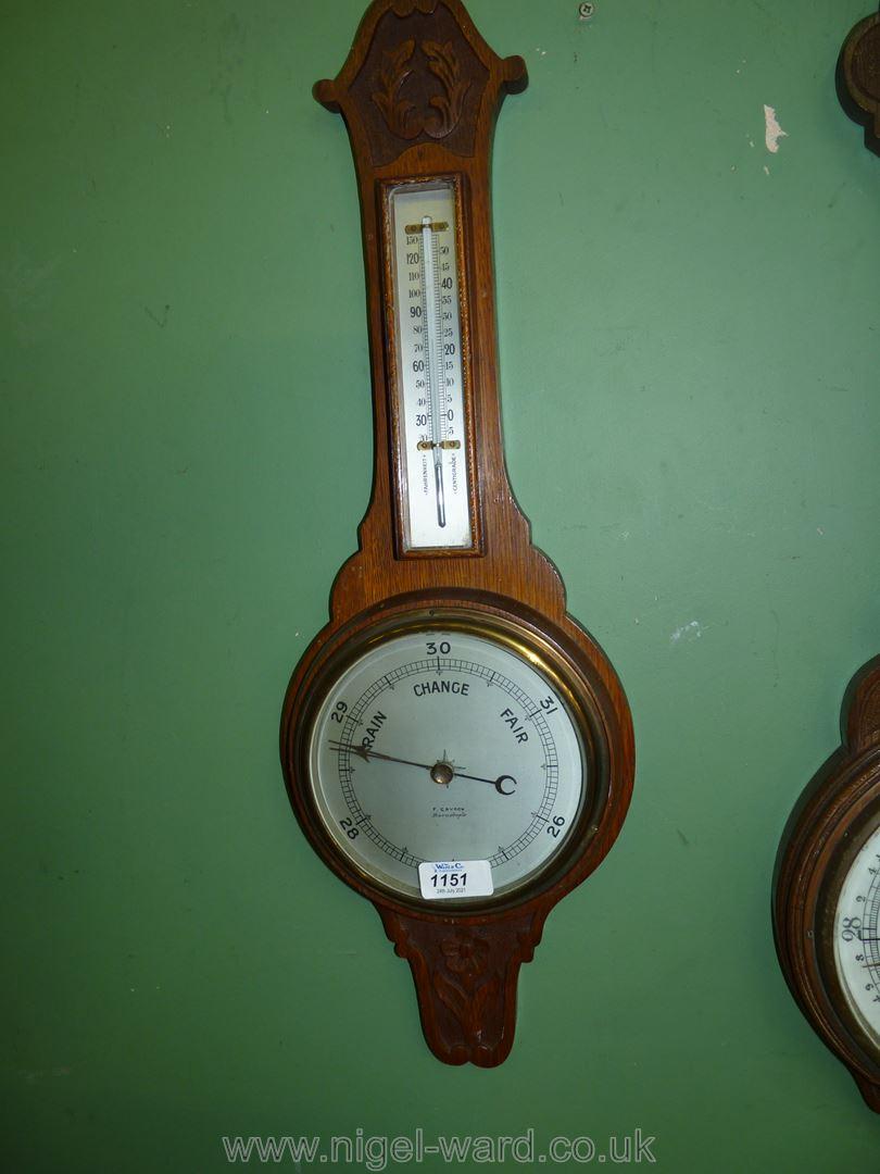 A wooden cased Banjo barometer thermometer by F. Grydon, Barnstaple.