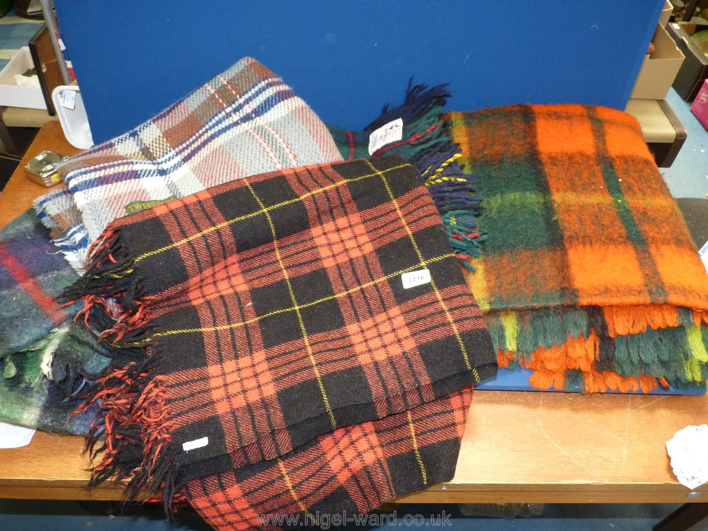 Five woollen Travel Rugs including Tweedmill, Highland Home Industries etc.