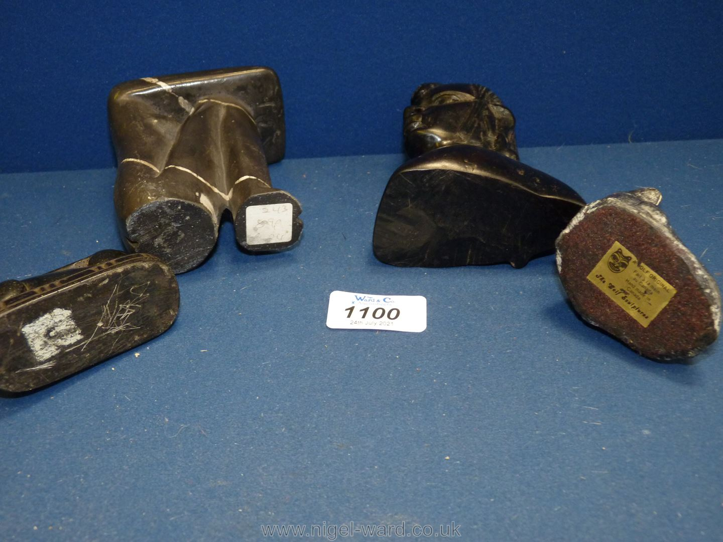 Four carved stone figures including seal, female bust, hare, etc. - Image 2 of 2