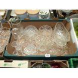 A quantity of glass including Thomas Webb tankard, Edinburgh bud vase, trifle bowls etc.