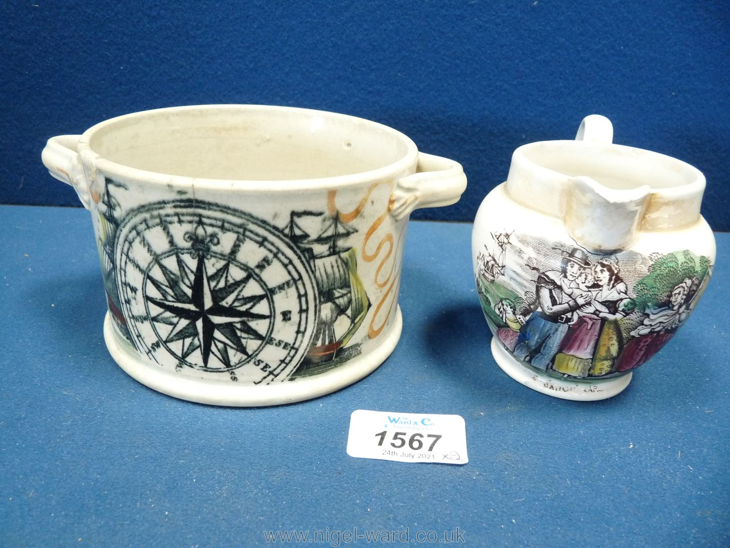 A small Sunderland lustre jug with 'The Sailor's Return' and a tobacco jar with ship and mariner's