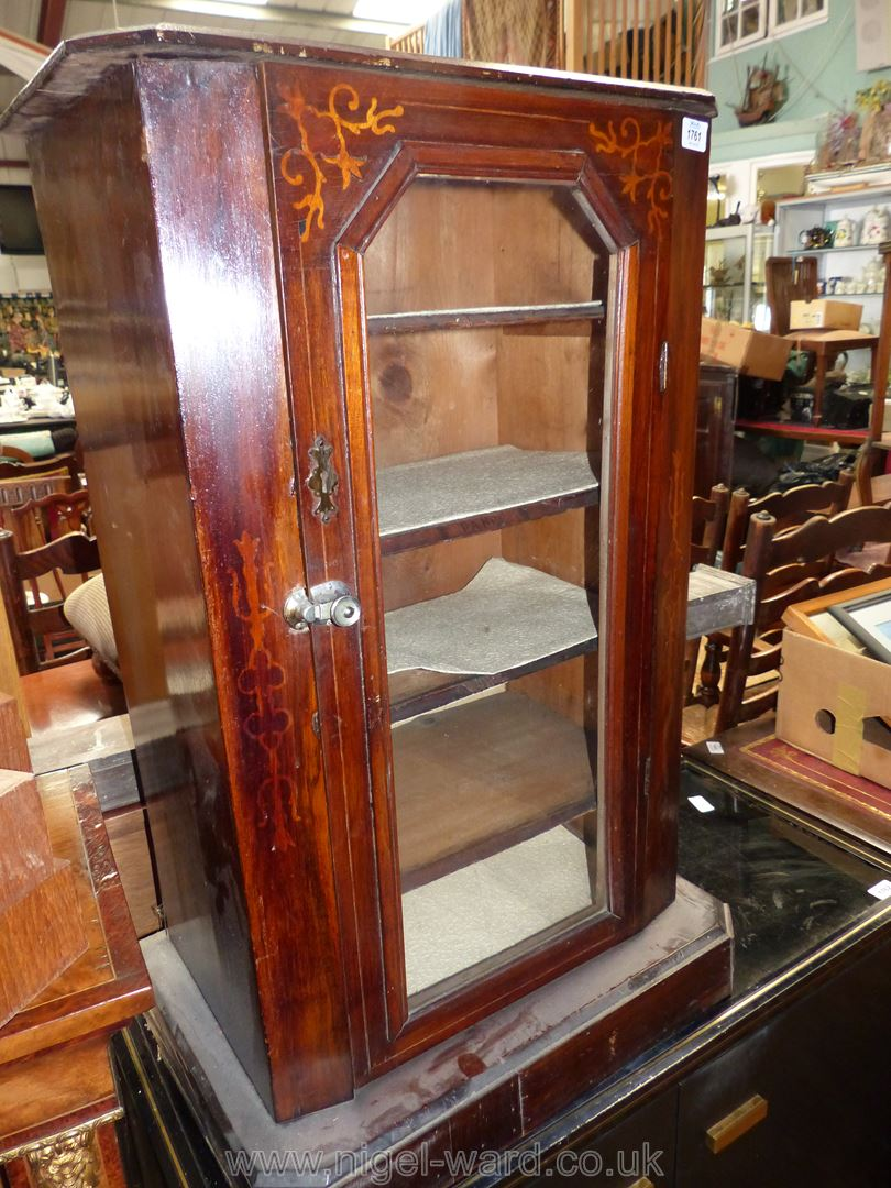 A Mahogany Music Cabinet having inlaid detail to top, 22 3/4'' wide x 14 3/4'' deep x 33 3/4'' high.