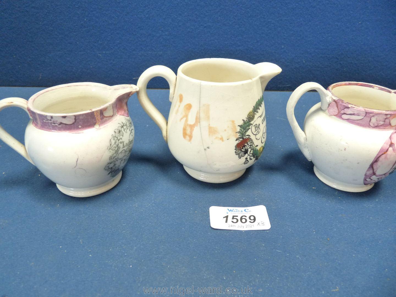 Three small 19th Century Sunderland lustre motto milk jugs, all a/f. - Image 2 of 4