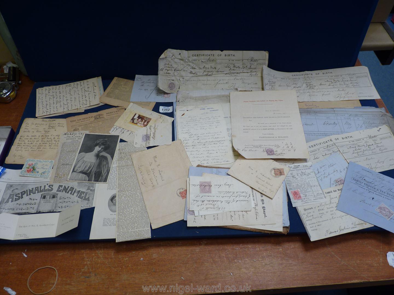 A quantity of Ephemera including old recipes, birth certificates, letters, Raglan Estate etc.