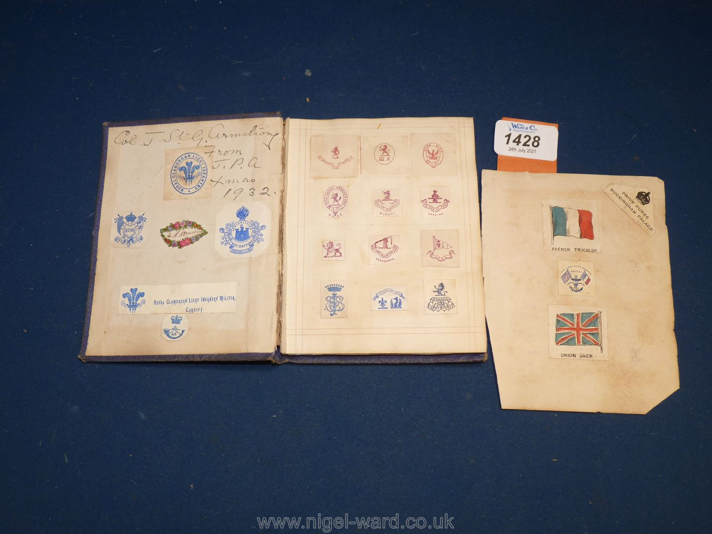 An interesting album of Coats of Arms, ciphers etc including Queen Victoria's family, nobility, - Image 5 of 7