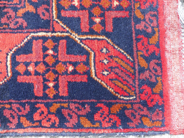 A long Afghan Kahn hall runner, 100% wool, 487 cm x 77 cm. - Image 5 of 7