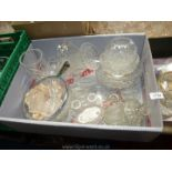 A quantity of glass including cut glass vases, salad bowls,