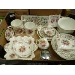 A quantity of china including Minton Haddon Hall sandwich dish, fruit bowl, Hammersley Spode,