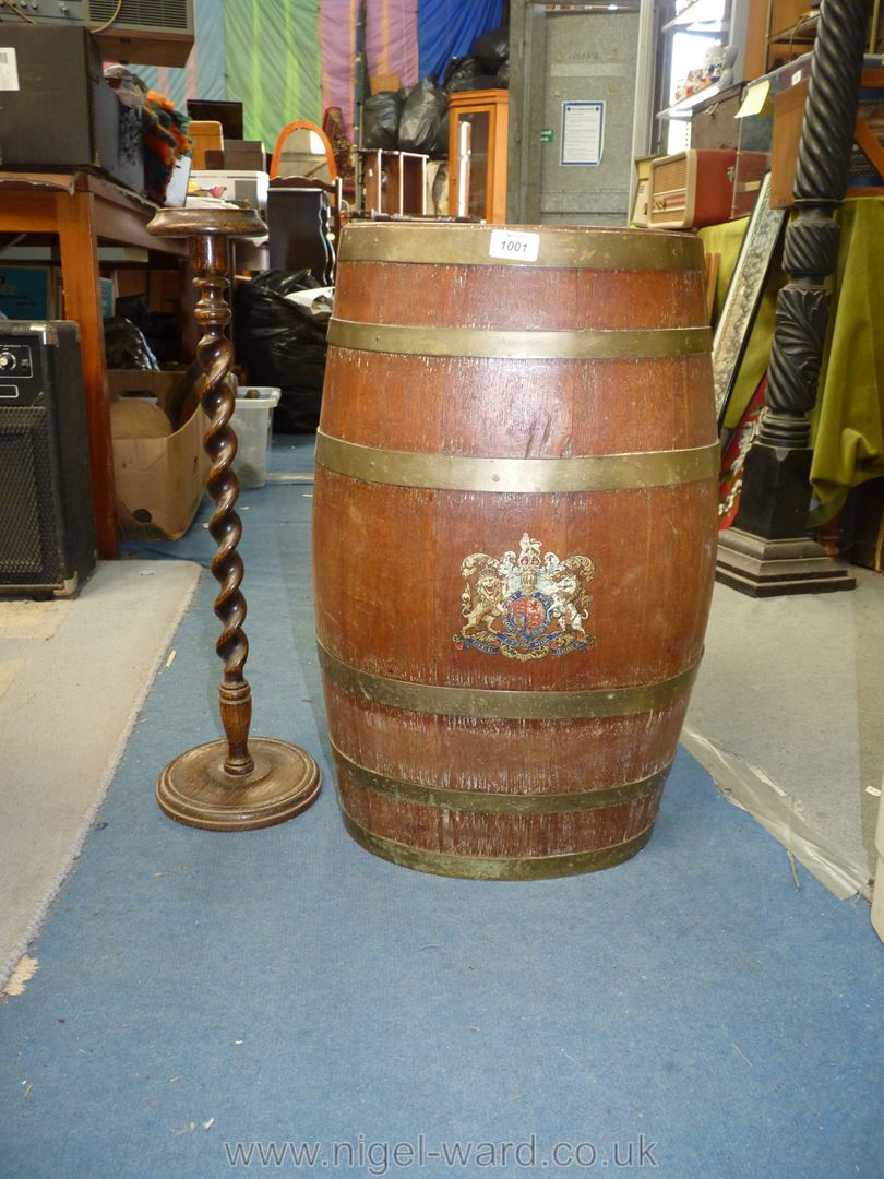 An ovoid coppered Barrel with coat of arms to front, - Image 2 of 4