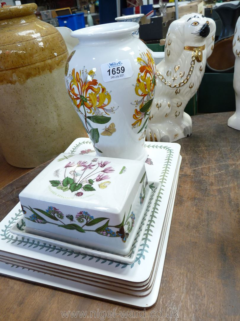 A Portmeirion Botanical Garden vase, a butter dish with cover and six table mats.