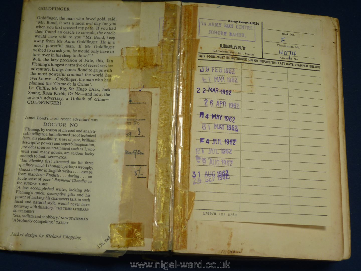 A first edition of 'Goldfinger' by Ian Fleming, Library edition, dust cover worn, loose binding. - Image 2 of 3